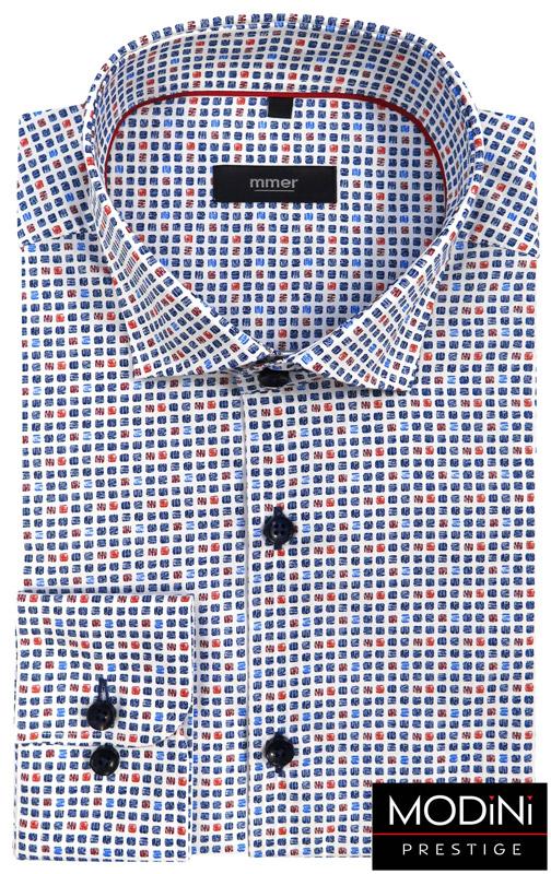 biała koszula męska w niebieskie i czerwone kwadraciki