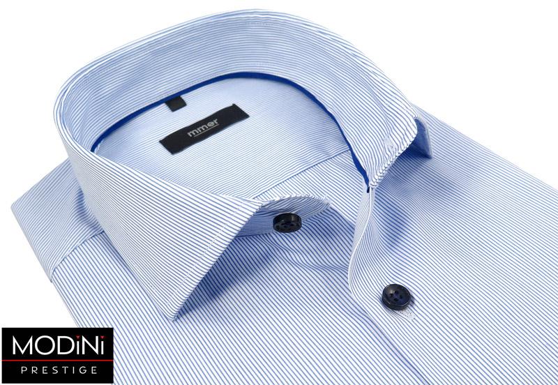 biała koszula męska w prążki z kieszonką