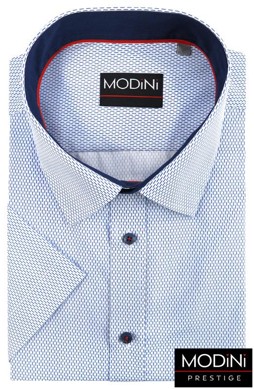 biała koszula w niebieskie prążki