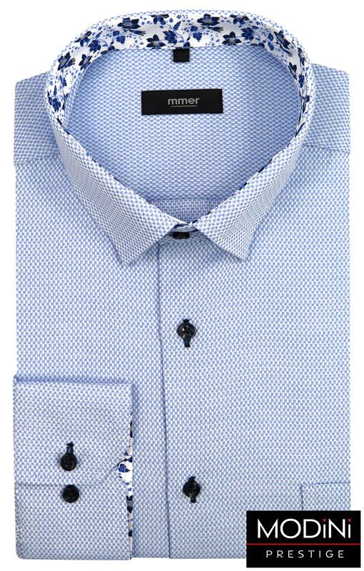 błękitna koszula męska w drobną kratkę
