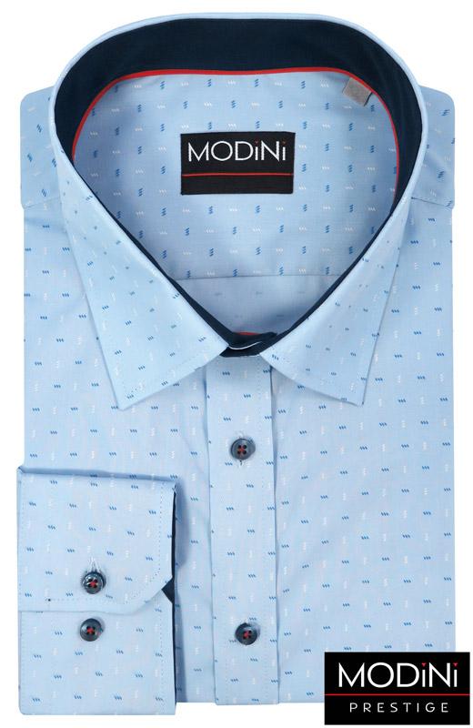 błękitna koszula męska z biało-niebieskim wzorem