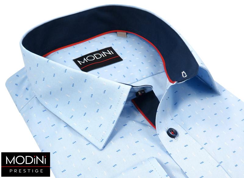błękitna koszula z drobnym niebiesko-białym wzorem