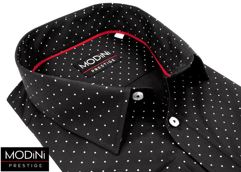 czarna koszula w drobne białe kropki