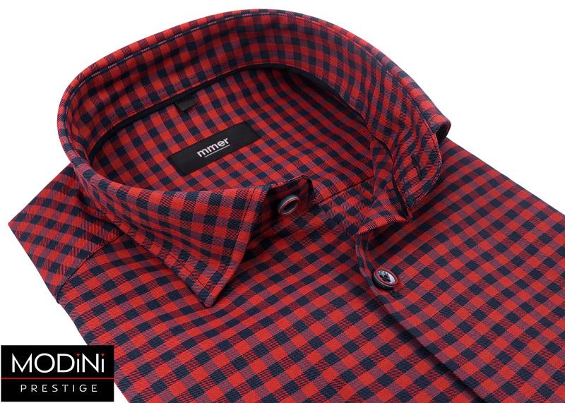 czerwona koszula męska w drobną kratkę