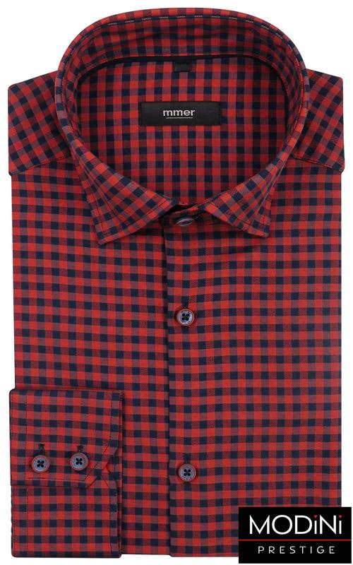 Męska Elegancka Koszula Wizytowa W Drobną Kratkę Czerwony