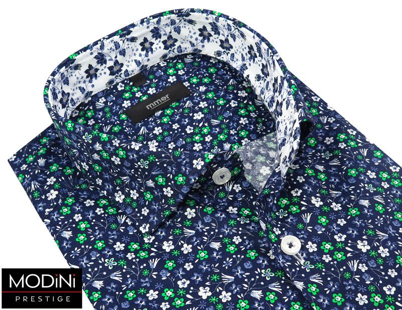 granatowa koszula w drobne kwiatki