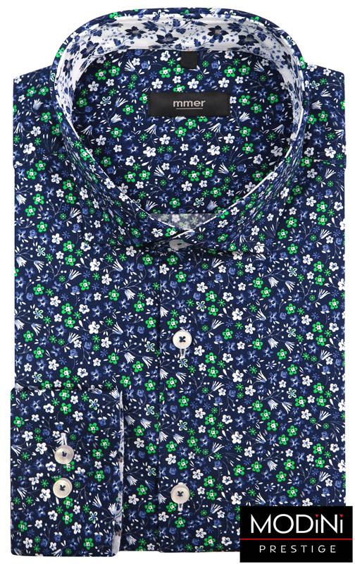 granatowa koszula w kolorowe kwiatki
