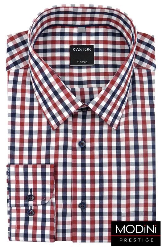 biała koszula w czerwono-granatową kratę