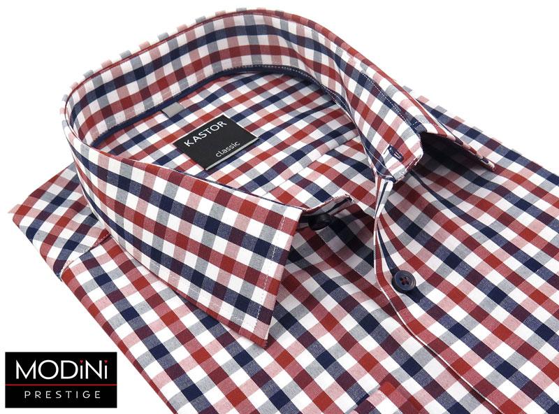 koszula w czerwono-granatową kratkę modini