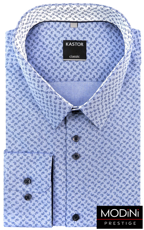 błękitna koszula w granatowy paisley