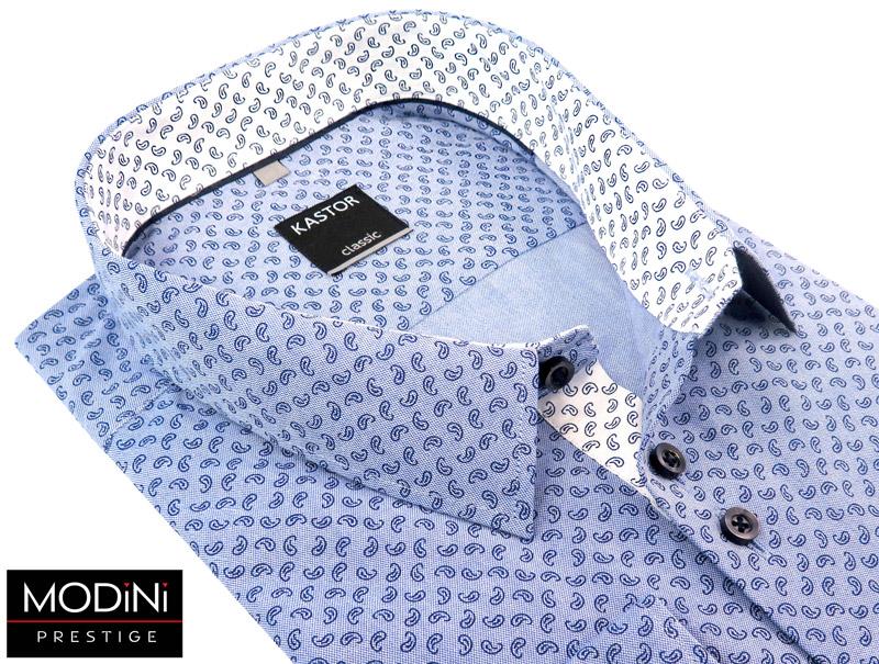 błękitna koszula męska w drobny paisley