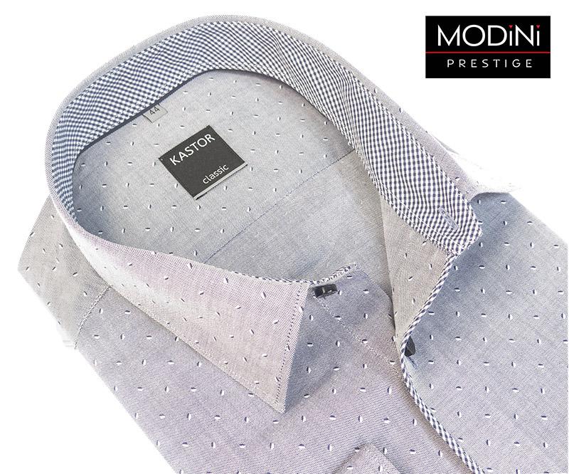 Szara koszula kastor z biało czarnym wzorem