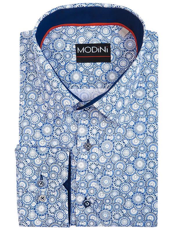 Niebieska koszula męska - kółka A42