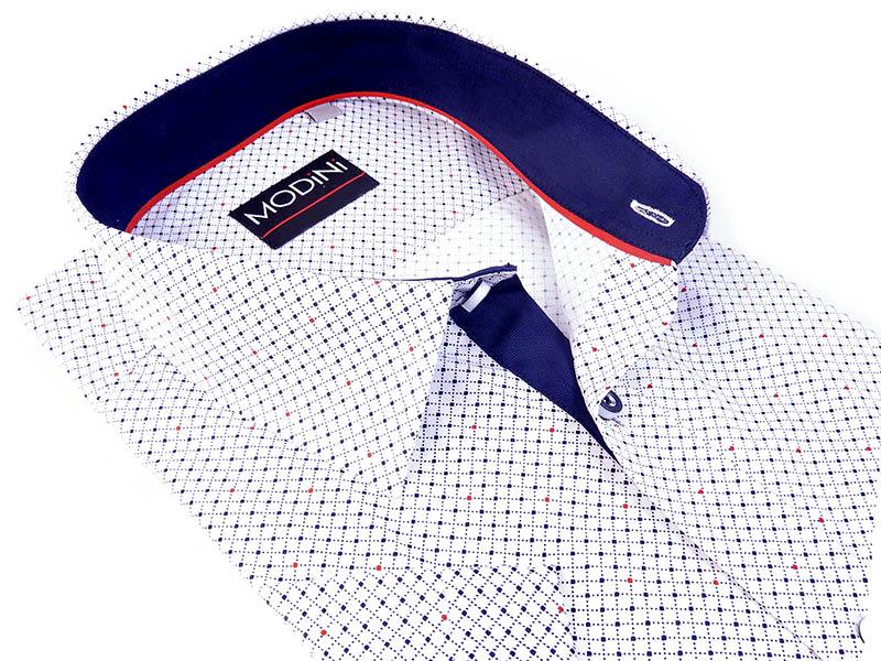 Biała koszula męska w drobną kratkę i kropki MK3