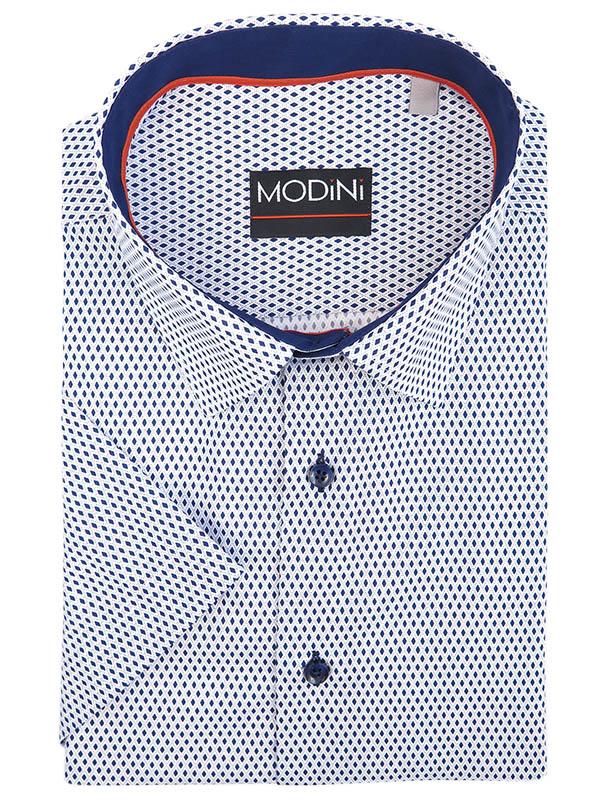 Biała koszula męska z krótkim rękawem z granatowym wzorem MK7