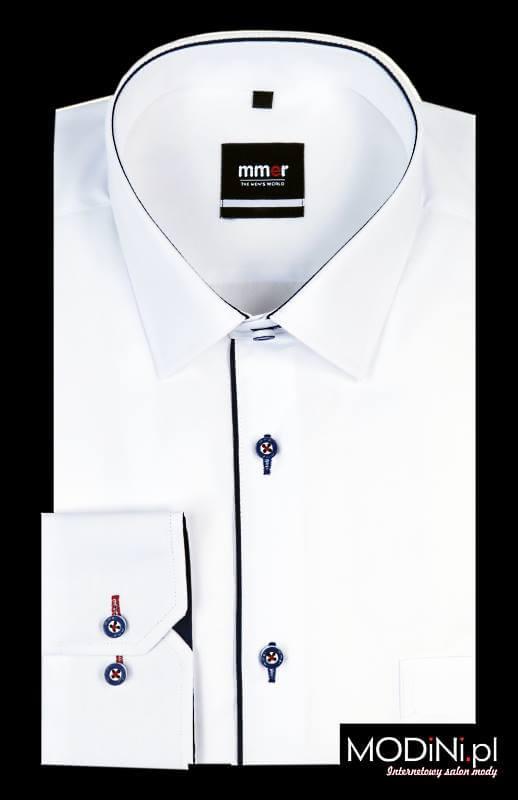 Białą koszula męska z granatowymi kontrastami