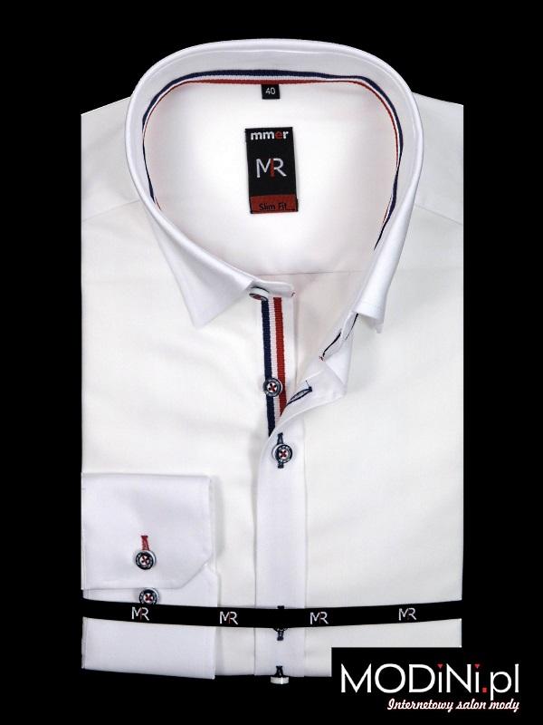 Biała koszula z ozdobną listwą