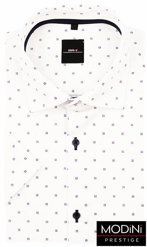 Biała koszula z krótkim rękawem w kwadraty 393