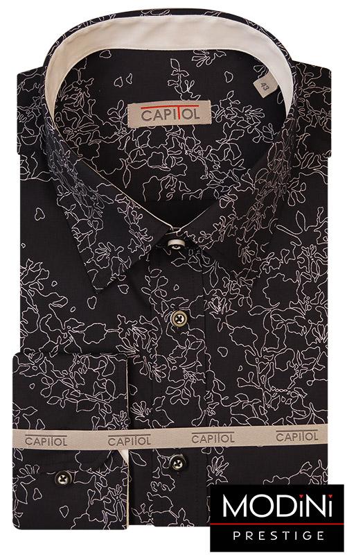 Czarna koszula męska - unikatowy biały wzór