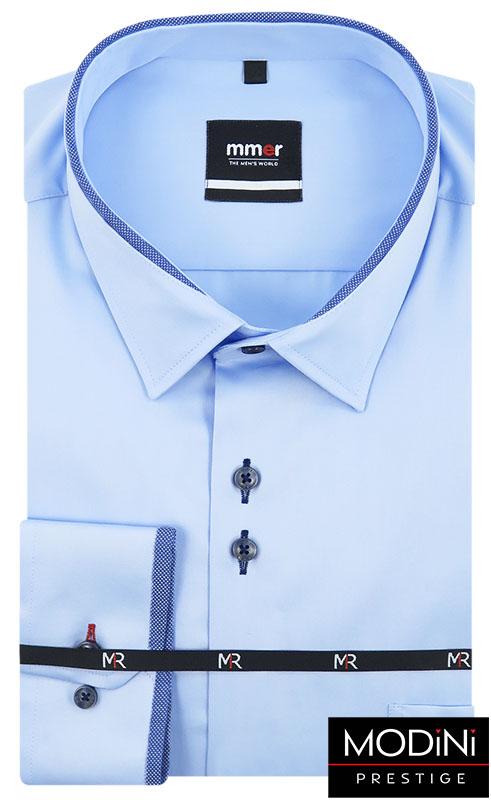 Błękitna koszula męska Mmer z obszyciami