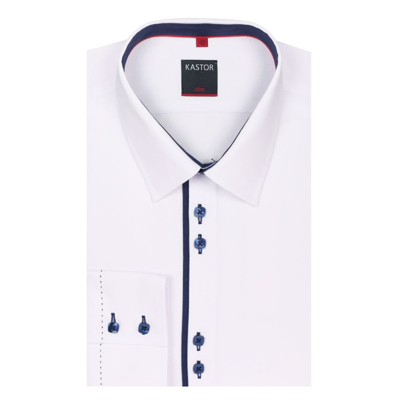 Biała koszula Kastor z pliską