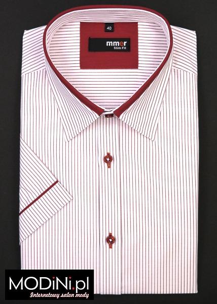 Biało - czerwona koszula slim