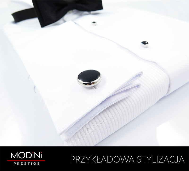 Biała koszula smokingowa z pliskami Mmer 099