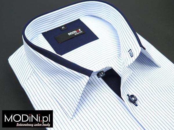 Koszula biała z krótkim rękawem w prążki