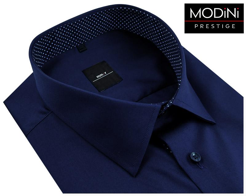 Granatowa koszula z kontrastem w kropki Mmer