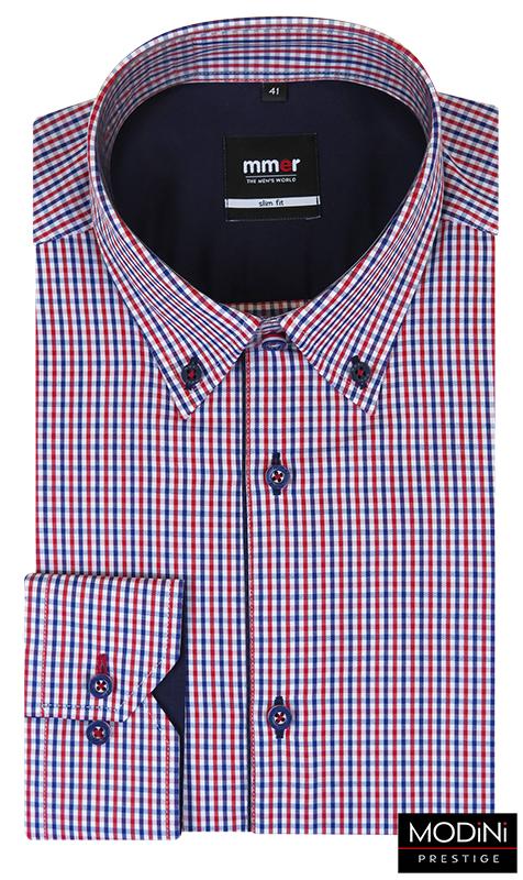 Koszula w niebiesko-czerwoną kratkę Mmer