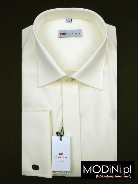 Koszula męska ecru na spinki z plisą