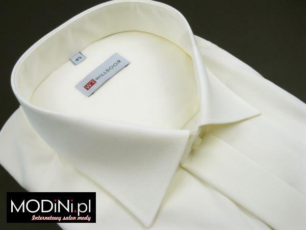 Koszula śmietankowa na spinki z plisą