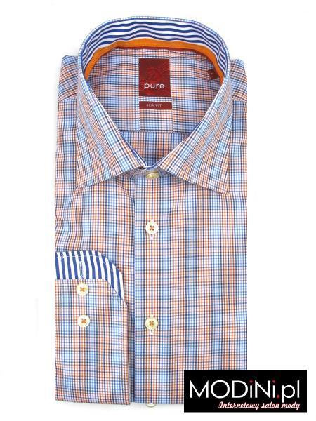 koszula męska pure w pomarańczowo niebieską kratkę