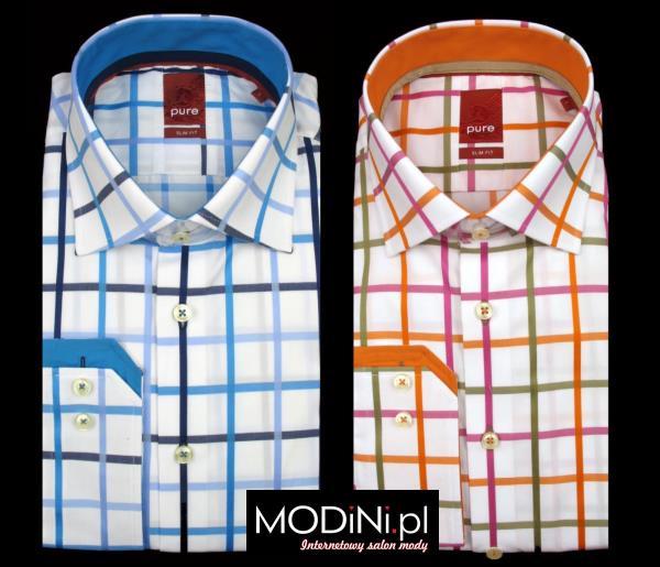 koszule męskie pure błękit i pomarańcz