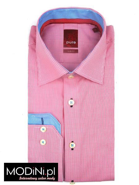 Różowo biała koszula męska Pure Slim