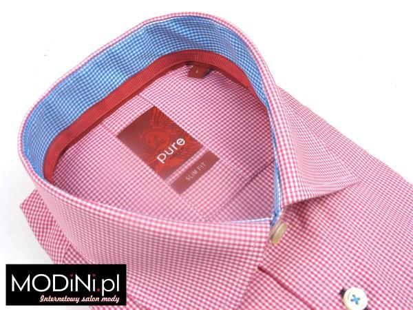 Różowa koszula męska z długim rękawem w kratkę