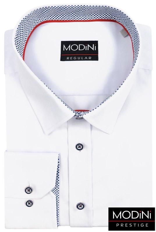 biała koszula z granatowo-czerwonymi guzikami