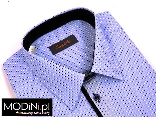 Niebieska koszula casual w białe/granatowe kropki
