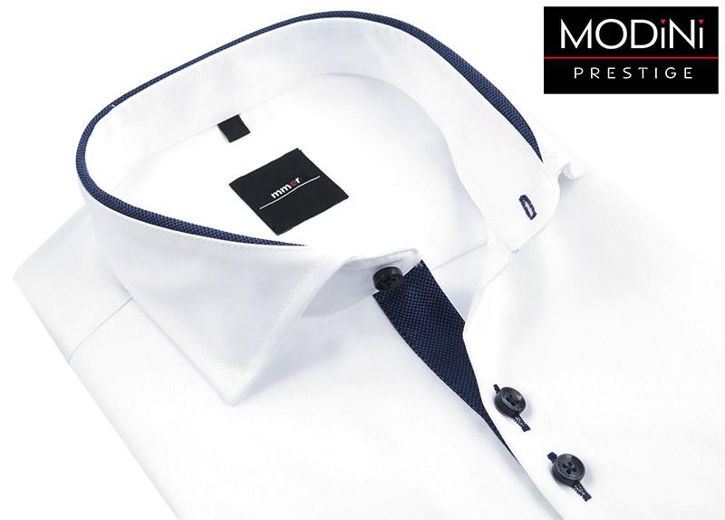 Biała koszula z długim rękawem - granatowe kontrasty