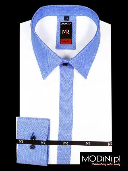 Biała koszula z niebieskimi kontrastami