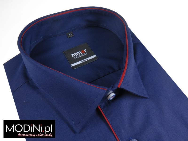 Granatowa koszula z czerwoną pliską 136