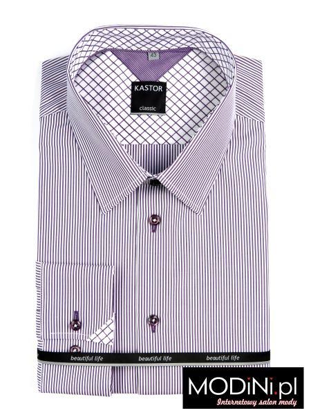 Koszula męska biało fioletowe prążki