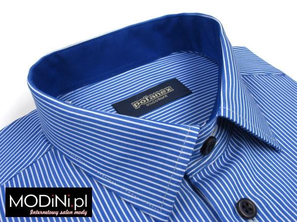 niebieska koszula z krótkim rękawem polanex z białymi prążkami