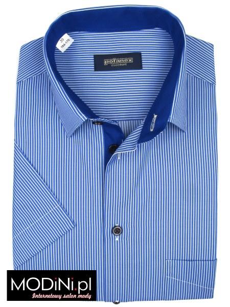 Niebieska koszula męska krótki rękaw