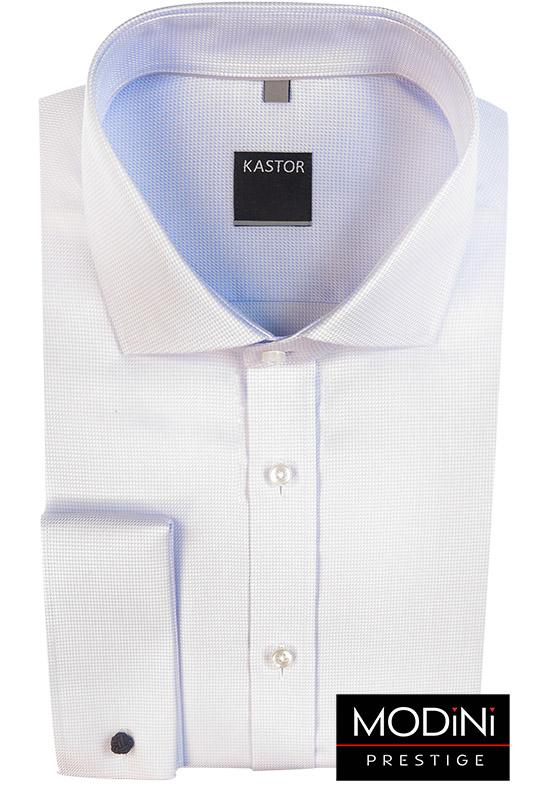 Biała koszula Kastor w błękitny mikrowzór