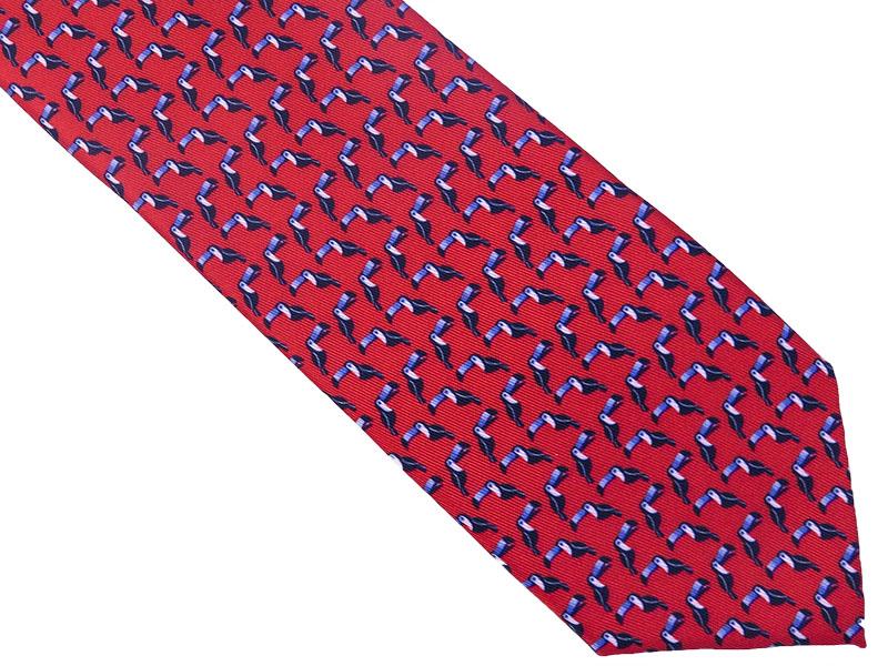 Czerwony krawat w tukany D142