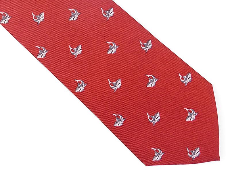 Czerwony krawat w rekiny D145