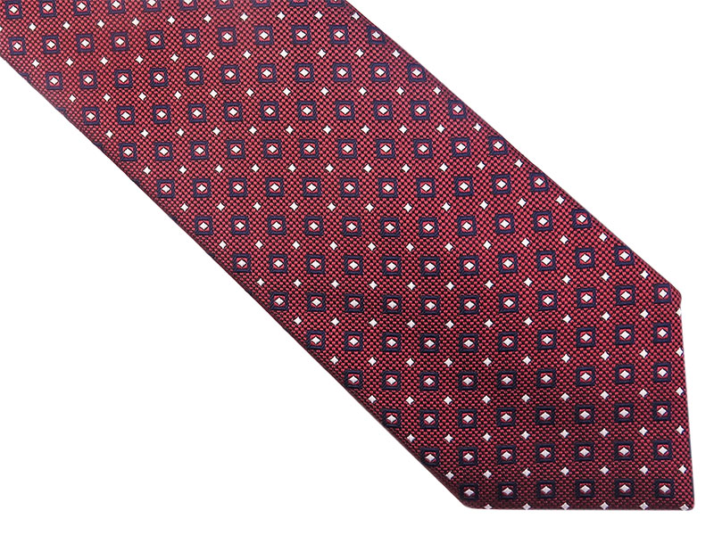 Bordowy krawat w kwadraciki D158