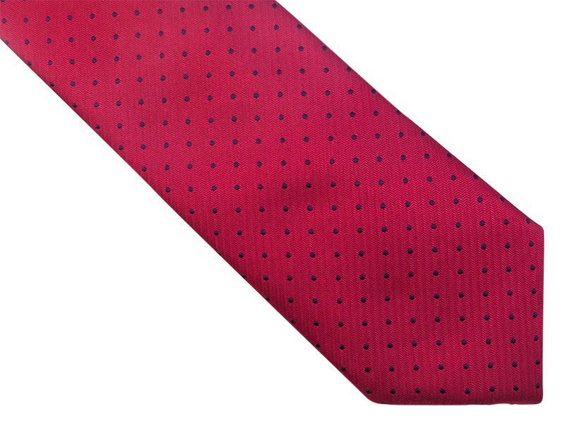 Bordowy krawat w kropki D159