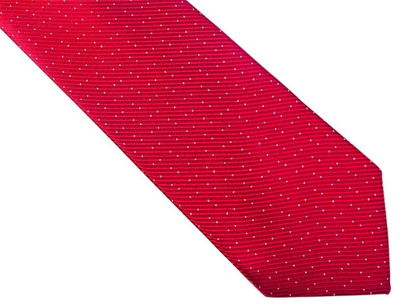 Czerwony krawat w kropki D161